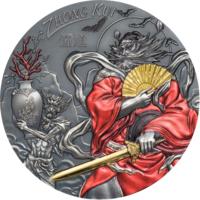"RARE Острова Кука 20 долларов 2020г. ""Чжун Куй Gilded"". Монета в капсуле, подарочном футляре; номерной сертификат; коробка. СЕРЕБРО 93,30гр.(3 oz)."