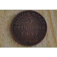 Пруссия 3 пфеннига 1857А