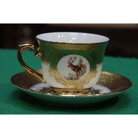 Чашка с блюдцем фарфоровая Благородный олень, Испания