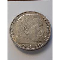 5 марок Германия A (Третий Рейх-паук) 1936 год. Серебро 900 пробы. Монета не чищена. 324