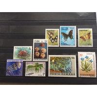 Набор марок (бабочки, цветы) с 1 руб