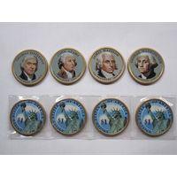 США 1 доллар 2007 1, 2, 3, 4 й президент цветная эмаль 4 шт