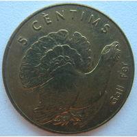 Андорра 5 сантимов 2002 г. Глухарь