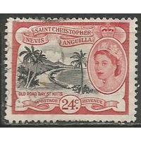 Сент-Кристофор Невис и Ангилья. Королева Елизавета II. Берег моря. 1954г. Mi#122.