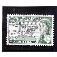 Ямайка. Ми-177.Карта Карибского моря. Серия: Вест-Индийская федерация.1958.