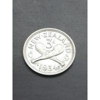 Новая Зеландия 3 Пенса 1934г серебро