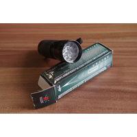 Фонарь ручной туристический малогабаритный: Фонарик светодиодный. 14 диодов, яркий белый свет, 3 батарейки ААА.