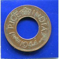 Британская Индия 1 пайс 1944 L ( Лахор )