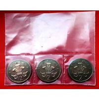 3 монеты Великобритании 2 пенса. Елизавета II трех возрастов.  Старт с 10 копеек.