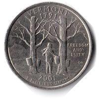 США. 1/4 доллара (1 квотер, 25 центов). 2001. Вермонт. D