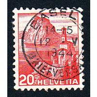 Швейцария, почтовая марка, 1936 год, номинал 20с, SG#375A (*6)