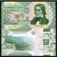 США - 50 Dollars - 16 штат Tennessee - 2014 - Polymer - UNC