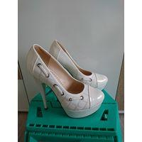 Туфли белые свадебные 37 размер 1 раз б/у