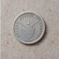 Филиппины. Администрация США. 10 центавос 1903  г. Серебро