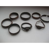 Старые медные кольца. 8 штук.