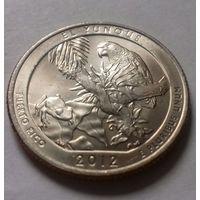 "25 центов, квотер США, нац. парк ""Лес Эль-Юнке"", Пуэрто-Рико, P  D"