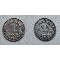 Швейцария 1/2 франка, 1908 7-6-19*20