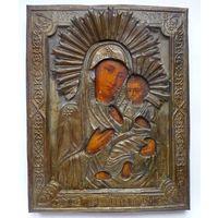 Икона Божией Матери Тихвинская.19 Век.Живопись,оклад, без мнц!