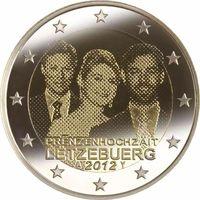 2 евро 2012 Люксембург Королевская свадьба UNC из ролла
