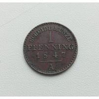 ЛИППЕ-ДЕТМОЛЬД  1 пфенниг 1847 г.