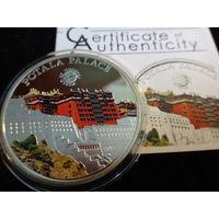 5 долларов Палау 2011 год Дворец Потала KM#376 Серебро цветная сертификат (1-10-14)