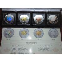 "Канада. Комплект из четырех монет 5 долларов ""Времена года"",2014. Серебро. Торг."