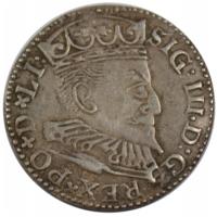 Польша, Сигизмунд III, 3 гроша, трояк 1596 Рига, серебро