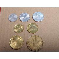 Уругвай набор 7 монет 1977-1981 (1 песо XF) UNC