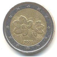 Финляндия 2 евро 2001 г. Листья и ягоды морошки.