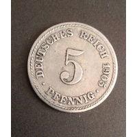 5 PFENNIG 1905  F Монетный двор Штутгарта 5  пфенниг  1905  F  Германия.,.