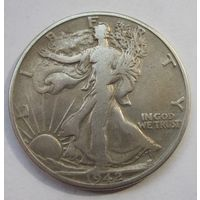 США, 1\2 доллара, 1942(D), серебро