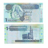 Банкнота Ливия 1 динар 2004 UNC ПРЕСС Муамар Каддафи 6-я серия