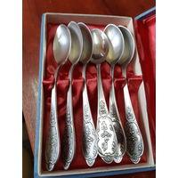 Чайные ложки, мельхиор, серебрение 6 штук