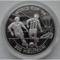 Бутан 300 нгултрум 1992 года. Футбол. Серебро. Пруф! Идеальное состояние!