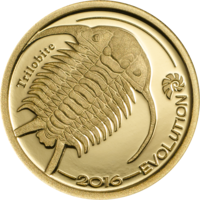 """Монголия 500 тугриков 2016г. """"Трилобит"""". Монета в капсуле. ЗОЛОТО 0,5гр."""