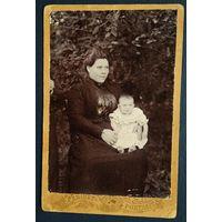 Фото женщины с ребенком. До 1917 г. 9х14 см