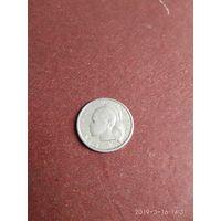 Либерия 10 центов 1961 г. Серебро.