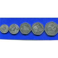 Сан Томе и Принсипи 5 монет ( 100+250+500+1000+2000) добрас 1997 UNC , ФАО
