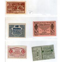 Австрия нотгельды 5 штук (15) 10 геллеров.