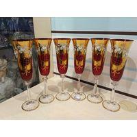 Торги с 1 рубля!!! Шикарные бокалы,24.5 см.,Богемия,красная смальта
