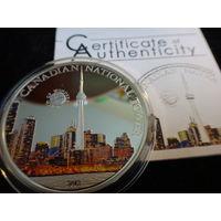 5 долларов 2011 год Палау Национальная башня в Канаде Серебро Пруф Цветная Сертификат (2-2-2)