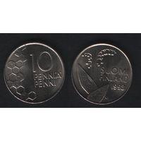 Финляндия km65 10 пенни 1993 год (M) (f31)*