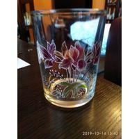 Стеклянная ваза под цветы с цветочным рисунком Италия.