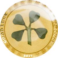 """Отличный подарок! Палау 1 доллар 2017г. """"Клевер на Удачу"""". Монета в капсуле; сертификат. ЗОЛОТО 1гр."""