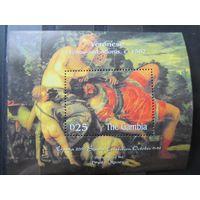 Марки, Гамбия, 2000, искусство, живопись, блок, Веронезе, Ню