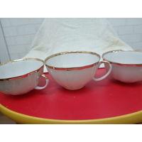 3 чайные чашки из тонкого фарфора обьем 200гр.