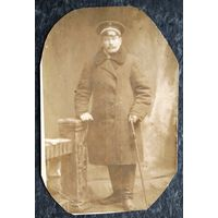 Фото мужчины с тростью. До 1917 г. 9х13 см.