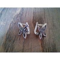 Серьги Бабочки, милые и миниатюрные, серебро 925 пр.