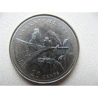 Канада 25 центов 1992 г. 125 лет Конфедерации Канада - Саскачеван (юбилейная)
