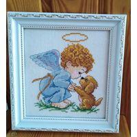 """Картина """"Мой добрый ангел"""" (30р - под заказ с обычным стеклом) (вышита крестиком)"""